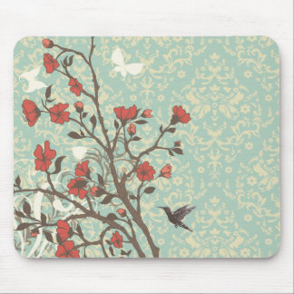 Vintage floral swirls damask + bird mousepad