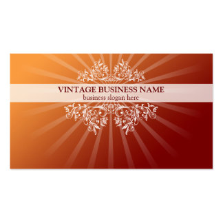 Vintage Floral Swirls & Rays Orange Gradient Business Card Template