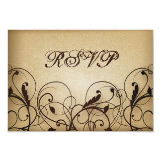 Vintage Floral Swirls RSVP 9 Cm X 13 Cm Invitation Card