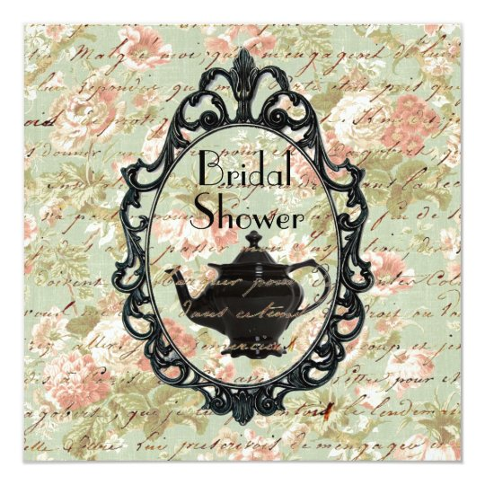vintage floral Tea Party Bridal Shower Invitation