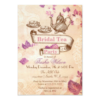 vintage floral tea party Bridal Shower Invites