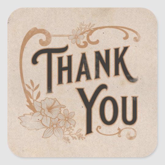 Vintage Floral Thank You on Parchment Square Sticker