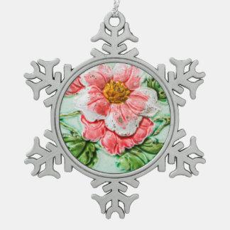 Vintage Floral Tile Snowflake Pewter Christmas Ornament