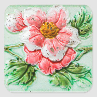 Vintage Floral Tile Square Sticker
