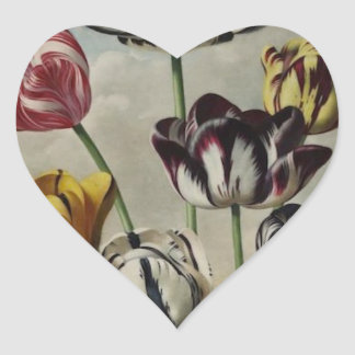 Vintage Floral Tulip Painting Heart Sticker