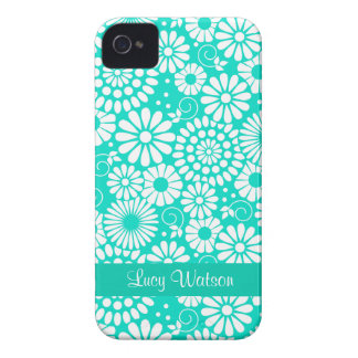 Vintage floral turquoise iPhone 4/4S Case
