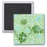 Vintage Floral Vine Morris Wallpaper Square Magnet