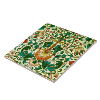 Vintage Floral Vine Pattern Wallpaper Large Square Tile