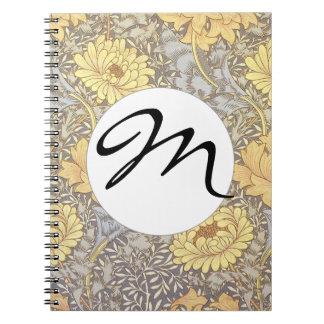 Vintage Floral Wallpaper Chrysanthemums Monogram Spiral Note Book
