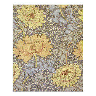 Vintage Floral Wallpaper Chrysanthemums Poster