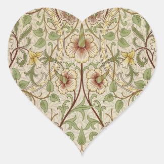 Vintage Floral Wallpaper Design - Daffodil Heart Sticker