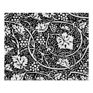 Vintage Floral Wallpaper Grape Pattern Poster