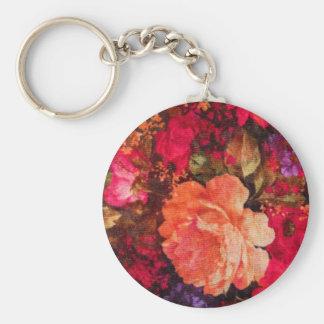 Vintage Floral Wallpaper Pattern Basic Round Button Key Ring