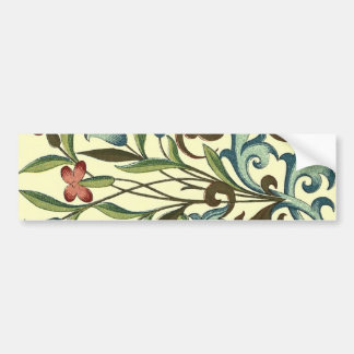 Vintage Floral wallpaper pattern designer yellow Bumper Sticker