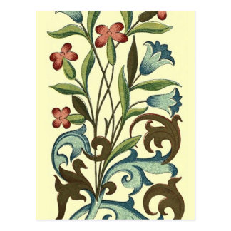 Vintage Floral wallpaper pattern designer yellow Postcard