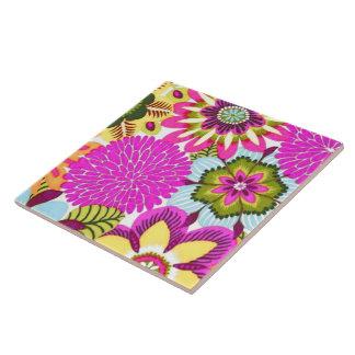 Vintage Floral Wallpaper, Pink Blue Green Large Square Tile
