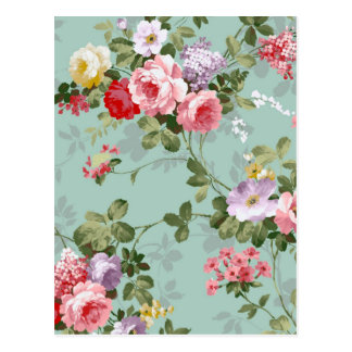 Vintage Floral Wallpaper Postcard