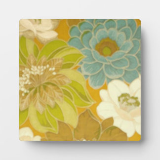 Vintage Floral Wallpaper, Turquoise Green & Brown Plaques