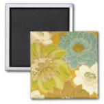 Vintage Floral Wallpaper, Turquoise Green & Brown Square Magnet