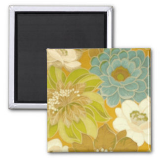 Vintage Floral Wallpaper, Turquoise Green & Brown Square Magnet
