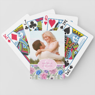 Vintage Floral Watercolor | Peony - Wedding Photo Poker Deck