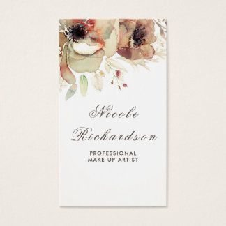 Vintage Floral Watercolor Soft Fall Pastels Shabby Business Card