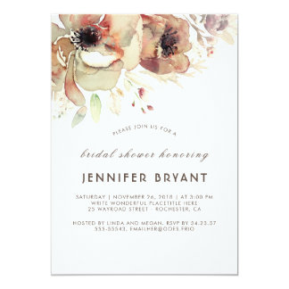 Vintage Floral Watercolors Fall Bridal Shower Card