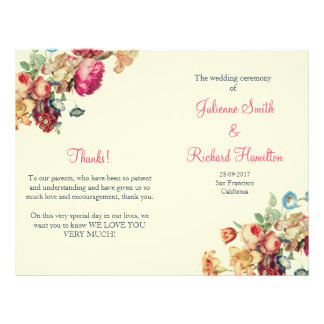Vintage Floral Wedding Ceremony Folded Program Flyer