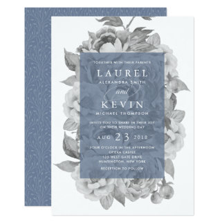 Vintage Floral Wedding Invitation | Slate