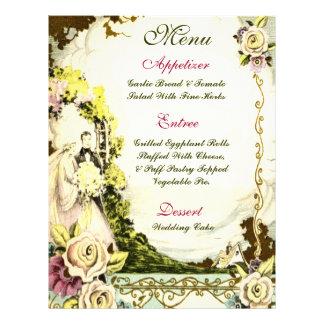 VINTAGE FLORAL wedding menu 21.5 Cm X 28 Cm Flyer