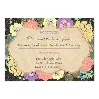 "Vintage Floral Wedding Reception Card 3.5"" X 5"" Invitation Card"