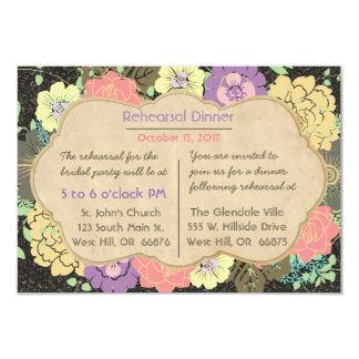 "Vintage Floral Wedding Rehearsal Dinner Invitation 3.5"" X 5"" Invitation Card"
