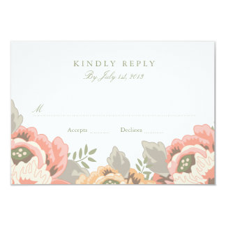 Vintage Floral Wedding RSVP Card