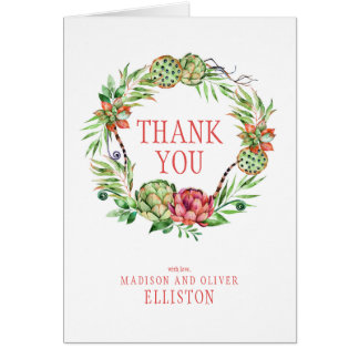 Vintage Floral Wedding Succulent | Thank You Card
