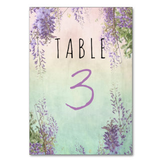 Vintage Floral Wedding Table Card with number