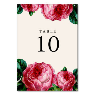 Vintage Floral Wedding Table Number Cards