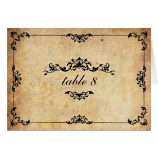 Vintage Floral Wedding Table Number Note Card