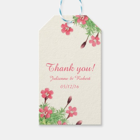 "Vintage floral wedding ""Thank You"" favour gift tag"