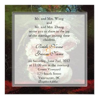 Vintage floral wedding, Van Gogh 13 Cm X 13 Cm Square Invitation Card