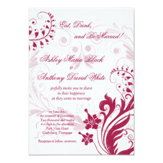 Vintage Floral White and Red Wedding Invitation