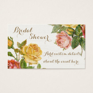 Vintage Floral Whitewash Spring Bridal Shower Business Card