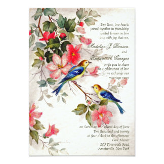 Vintage Floral with Birds Wedding Invitation