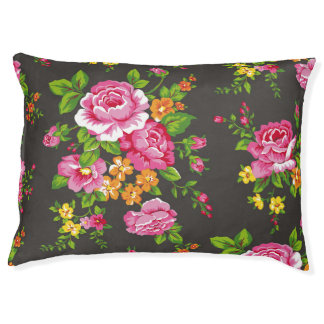 Vintage Floral with Pink Roses Pet Bed