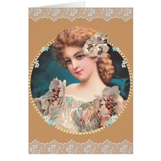 Vintage Floral Woman with lace Card