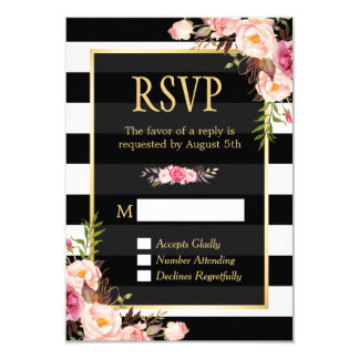 Vintage Floral Wrapping B&W Stripes RSVP Reply Card
