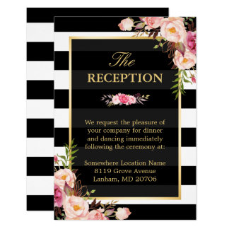 Vintage Floral Wrapping Stripes Wedding Reception Card