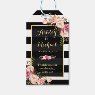 Vintage Floral Wrapping Stripes Wedding Thank You Gift Tags
