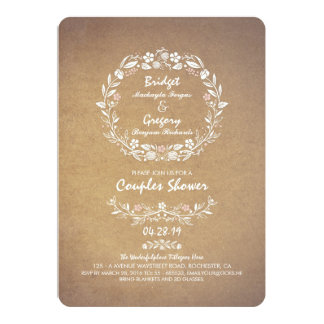 Vintage Floral Wreath Elegant Couples Shower 13 Cm X 18 Cm Invitation Card