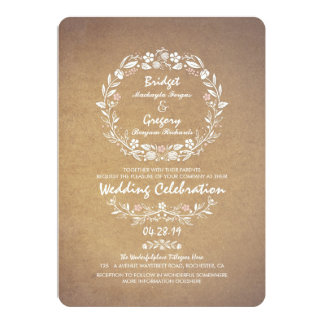 Vintage Floral Wreath Elegant Wedding Invitations
