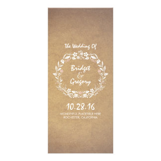 Vintage Floral Wreath Elegant Wedding Programs 10 Cm X 23 Cm Rack Card